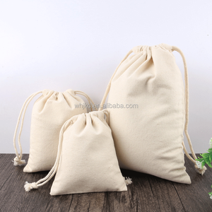 Promotional customs logo screen printing organic cotton drawstring bag canvas cotton gift packing pouch
