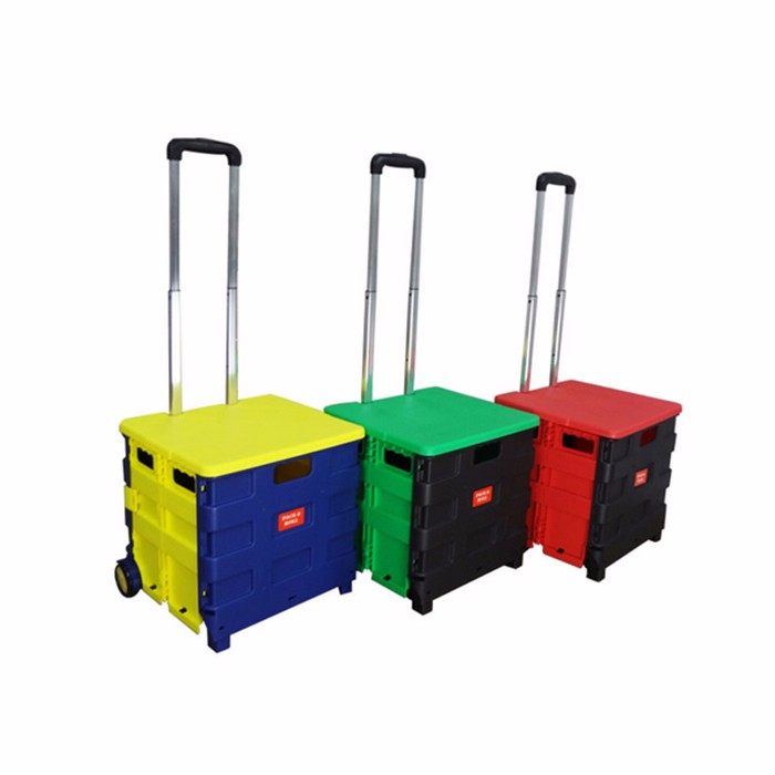 Plastic Shopping Crate Cart Collapsible Plastic Cart And