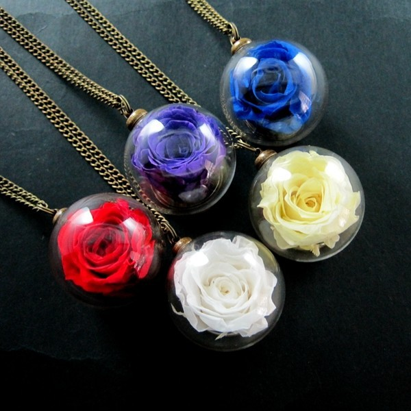 30mm glass dome ball real dry red,blue,yellow,white,purple rose flower wish vial pendant charm long sweater necklace 6350500