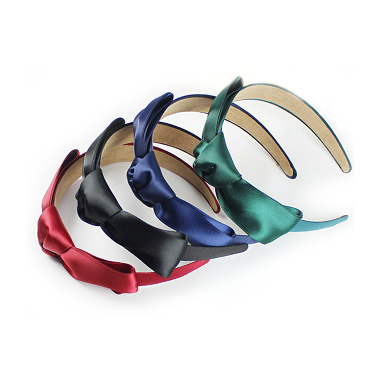 colorful bow knot satin covered headband for women wholesale
