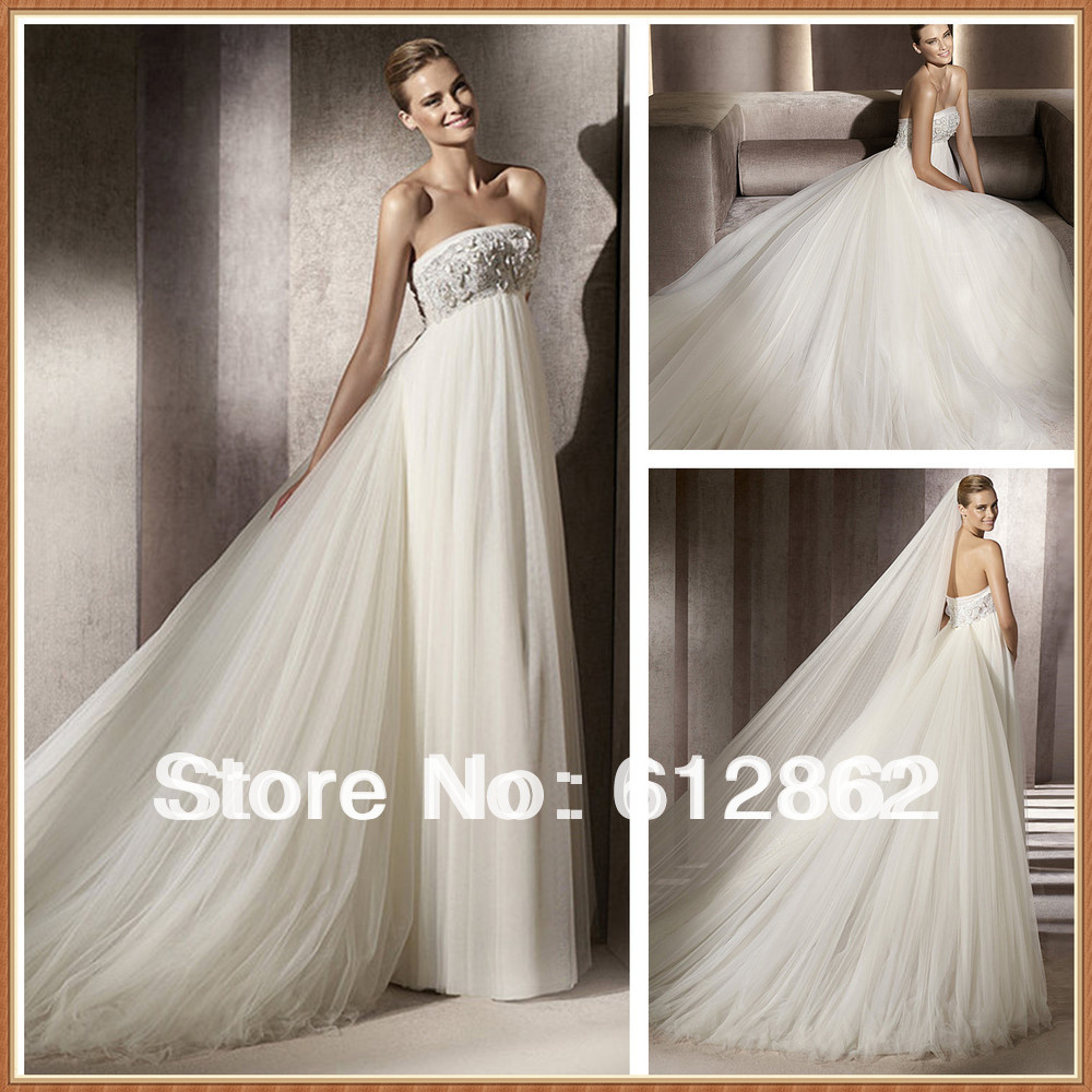 Low Waist Wedding Gowns: Aliexpress.com : Buy Elegant Tulle Empire Waist Low Back