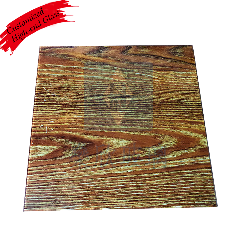 High quality tempered glass wood grain rock glass table top glass