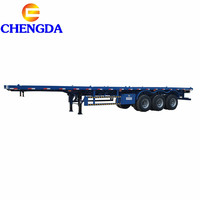 Self loading 20ft 40ft 2axle 3 axles flat bed container flatbed chassis truck semi trailer price