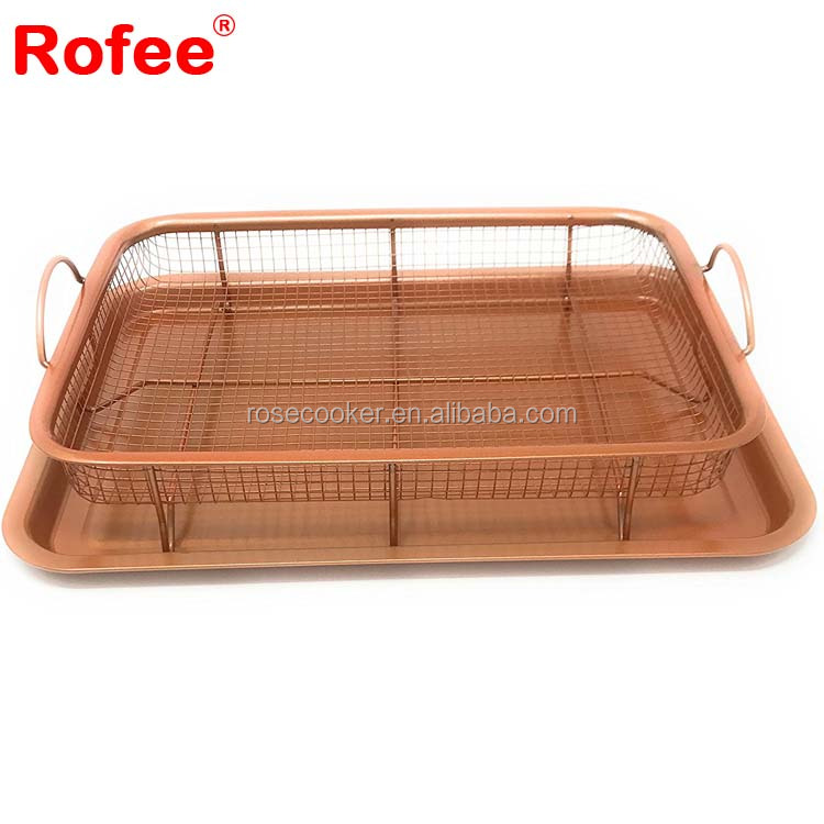 Copper Oven Air Fryer Crisper Tray Air Fryer Pan 2 Pack