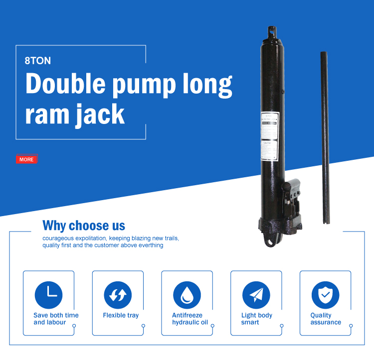 Double pump black 8 ton hand operated long ram hydraulic jack