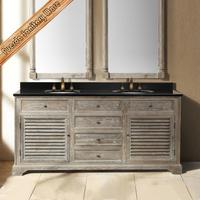 FED-1592 72 inch large size transitional oak wood veneer hotel bathroom vanity