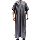 Latest Designs Solid Color Short Sleeve Moroccan Thobe Men Abaya Kaftan Woven