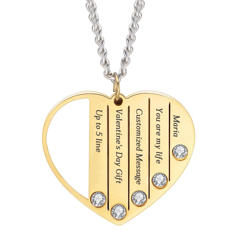 Personalized Mothers Custom Engrave  Name Heart Crystal Necklace  Mother Child Necklace for Wife Mother