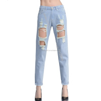 2017 vintage holes Ripped jeans blue white 2017 trousers Female denim European Fashion Casual pants