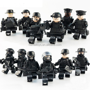 12pcs legoing Military Swat Team City Police Armed Assault Army soldiers With Weapons Guns Figure Blocks Toys