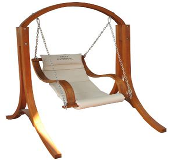Outdoor Heavy Duty Wood Hammock Chair Stand With Armrest Hammock Swing Chair