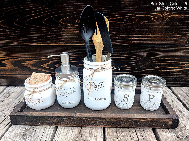 5 Piece Mason Jar Kitchen Set With Soap Dispenser. Includes Salt & Pepper Shakers, Utensil Holder, Soap Pump, and Sponge Holder.
