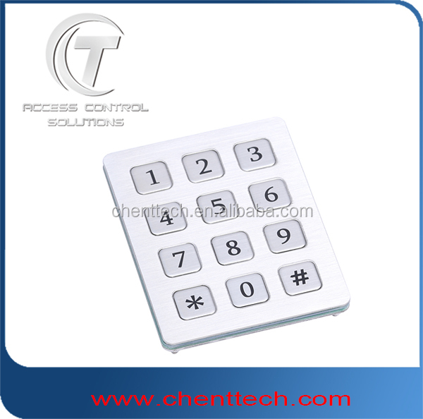 3x4 vandal resistance digital metal matrix keypad with 12 flat key buttons