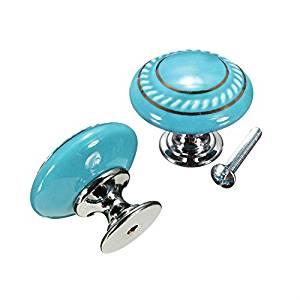 CSKB Blue 4PCS Retro Style Round Cabinet Knob Cupboard Drawer Furniture Kitchen Dresser Door Wardrobe and Bathroom Shutters Locker Pull Handle,vintage Kitchen Cabinets /& Vanity Knob Handles /…