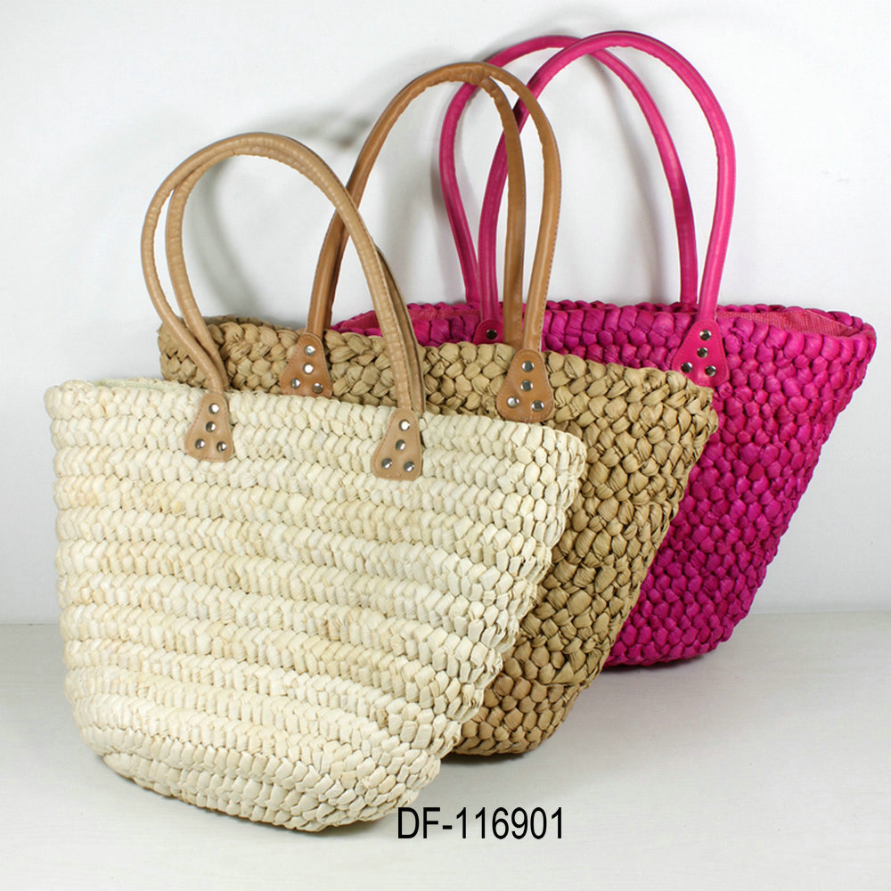 Fancy Hand Embroidery Natural Sea Grass Beach Straw Tote Bags For ...