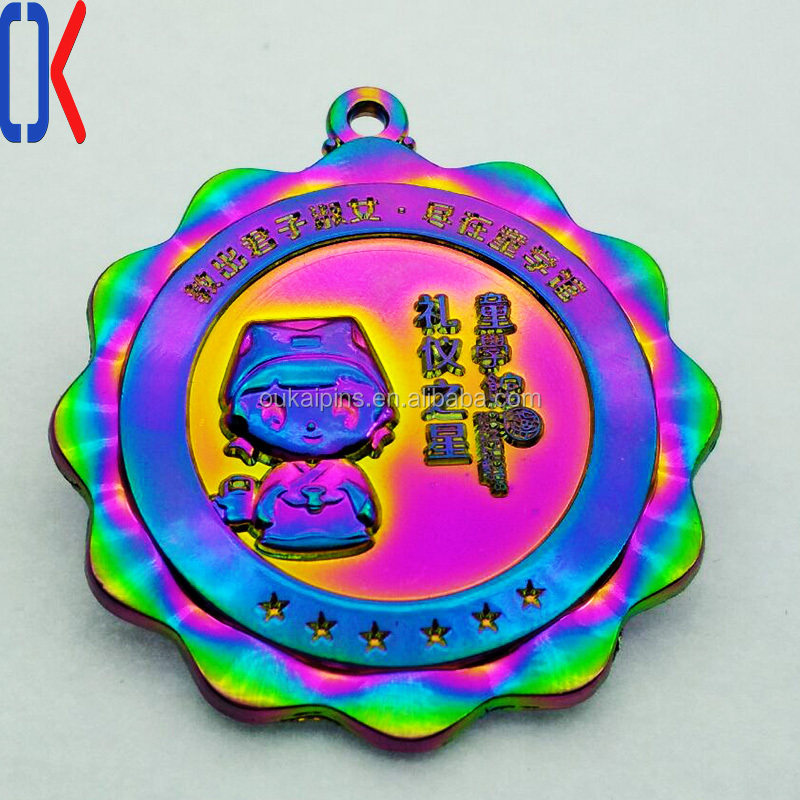 China Atacado Personalizado Rainbow Plating Metal Lapela Pin / barato personalizado crachá