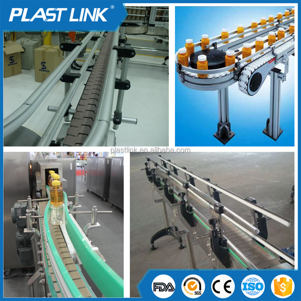 Professional manufacturer side flexing plastic table top chain conveyor for bottles