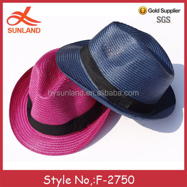 F-2750 new plain color 2017 sun hat black band straw hats for men wholesale hat fedora