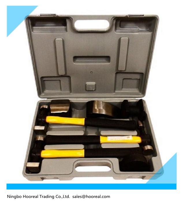 7pc Fiberglass Auto Body Heavy Duty Dent Repair Tool Hammer Bender Dolly