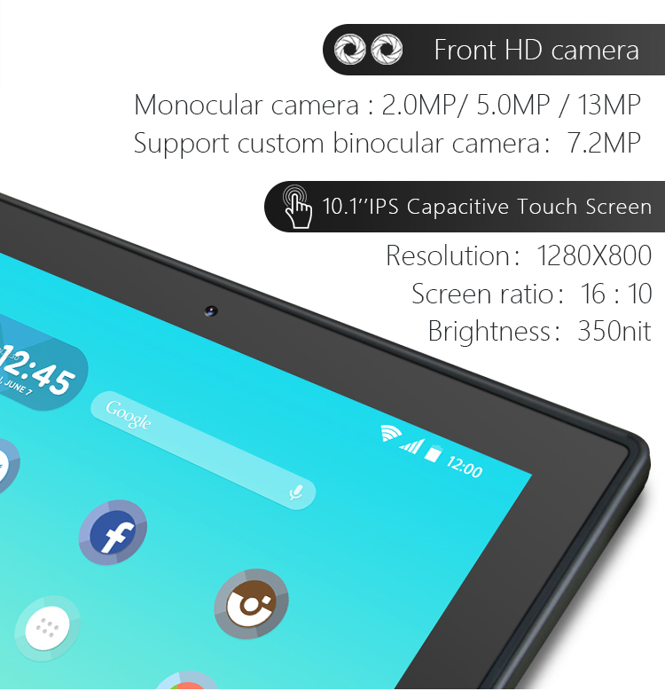 10.1 Inch Touch Screen Android Tablet Zonder Batterij