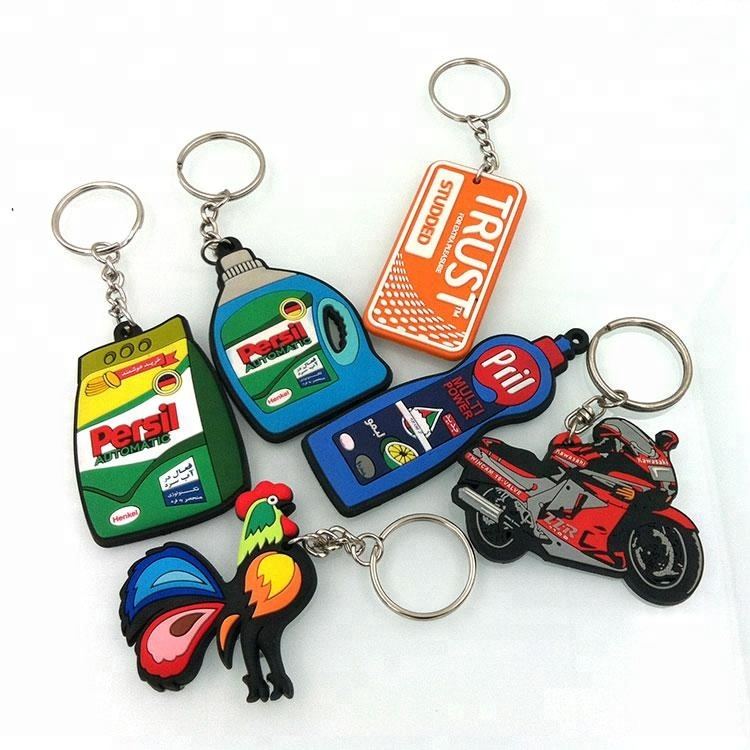 Free Sample OEM Promotional Gift Custom 2D Soft PVC keychain 3D Rubber Own Design Keyring Motorcycle Shape Key Chain