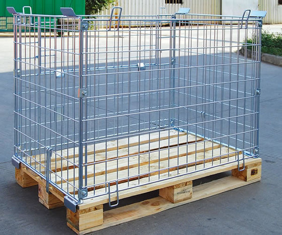 Folded zinc storage cage with forklift platform cage