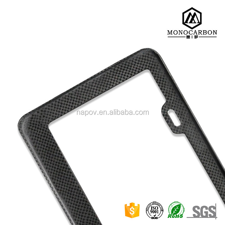 Car Auto Rectangular Carbon Fiber License Plate Covers in License Frame