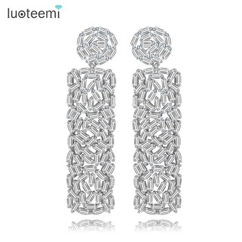 LUOTEEMI Women Newst Pure Baguette CZ Diamond Trendy Engagement Big Long Dangle Earring Fashion
