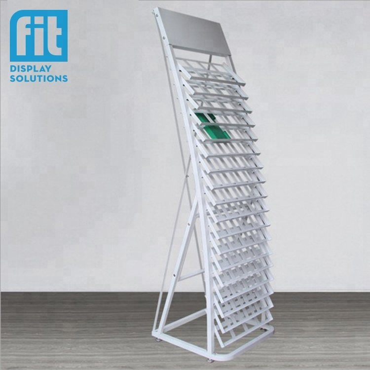 Custom goede kwaliteit keramische tegel display rack tegel keramische display stand metalen quartz steen sample display stand rack