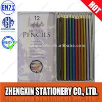 Pencil Case Metallic Color Pencil Set in Tin Box colour pencil set of 12