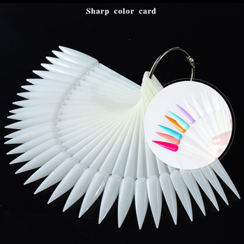Hot Selling 50 pcs/set Fan Shape  Sharp Nail Color Chart False Nail Tips Model for Nail Polish color Display