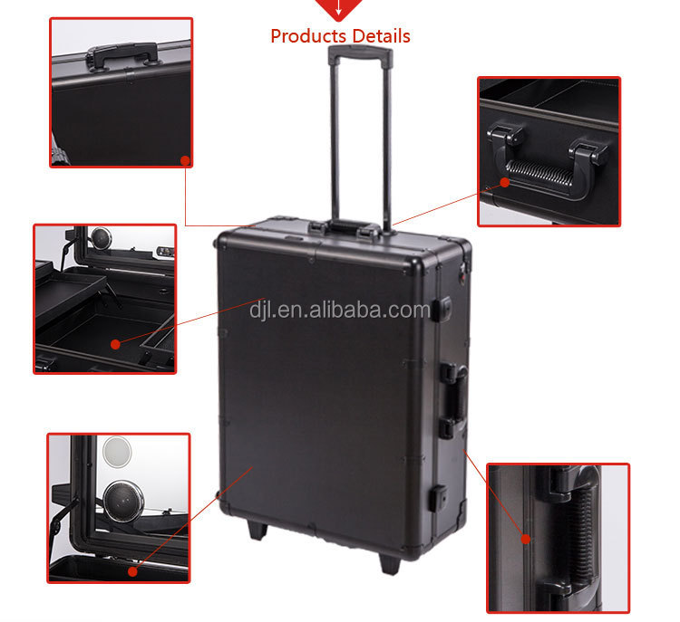 Guangzhou Portable Black Aluminium Makeup Case With Drawers