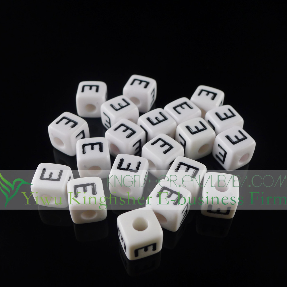 Eco-friendly Acrylic Plastic Single I Alphabet Beads,10mm Cube ...