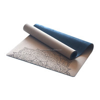 2018 New Style Custom made Eco friendly Premium Cork Natural Rubber Non Slip Gaiam Printed Yoga Mat with Carrying Strap