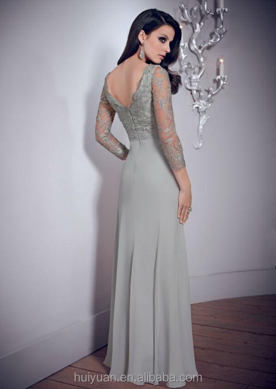 Elegant V Neck Backless Long Sleeve Lace Indian Long Evening ...