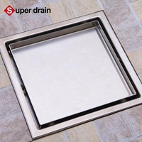 100*100mm high quality stainless steel square invisible tile insert linear shower drains