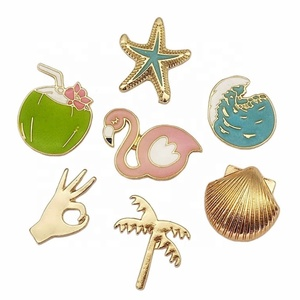 Manufacturers Wholesale Clothing Accessories Exquisite Island Style Shells Starfish Plant Coconut Tree Drop Oil Brooch Badge