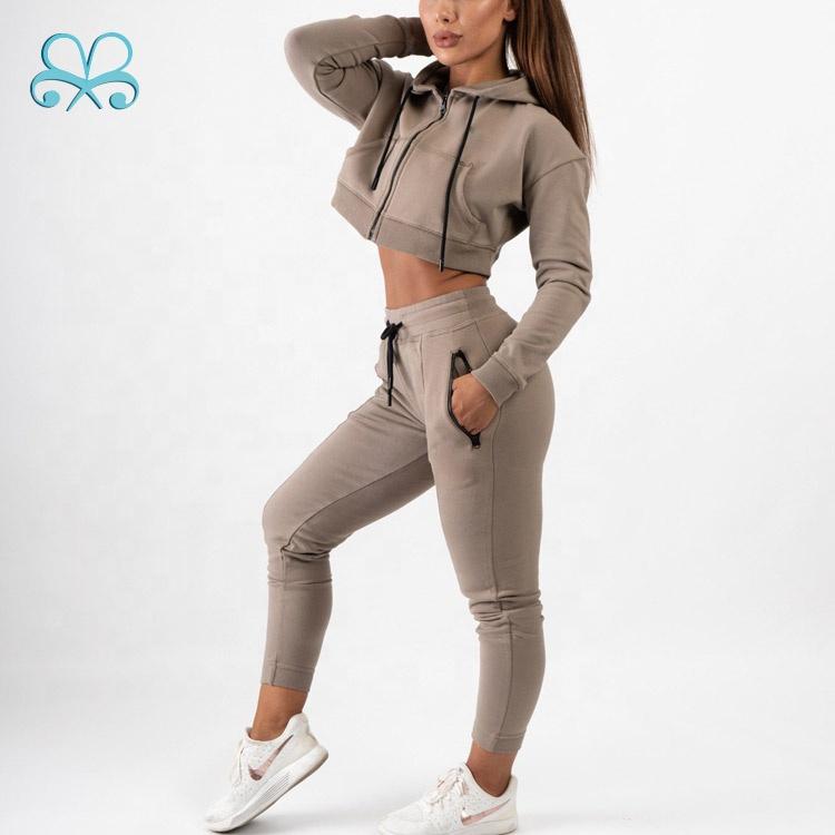 Boxin frauen sportswear gym kleidung Khaki plain jogger anzüge fitness blank trainingsanzug