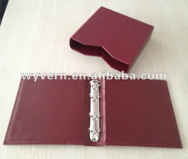 pu leather 4 metal ring binder