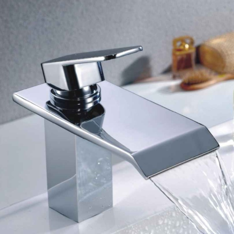 Brass waterfall basin faucet cold and hot mixer bathroom taps