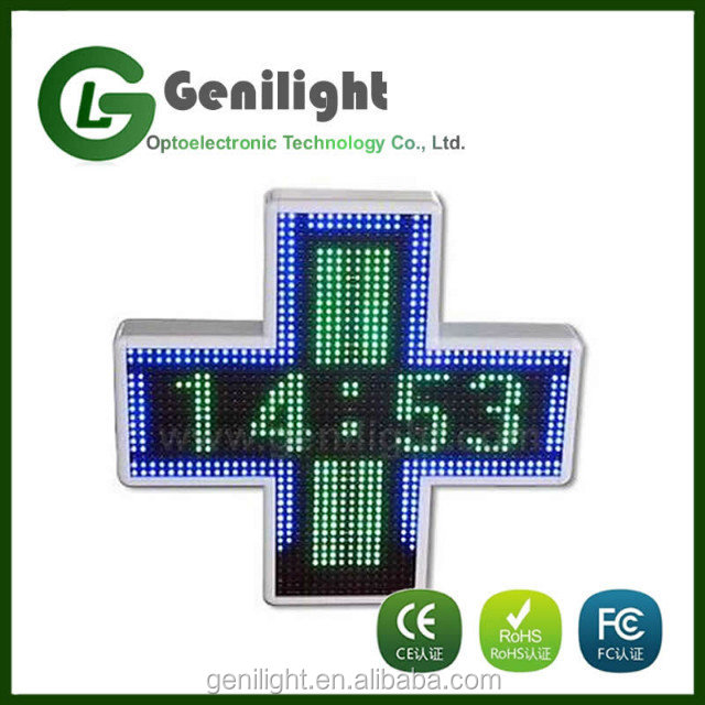 High Quality Cheap Price LED Pharmacy Sign P25 Cross Style Moving Message Display