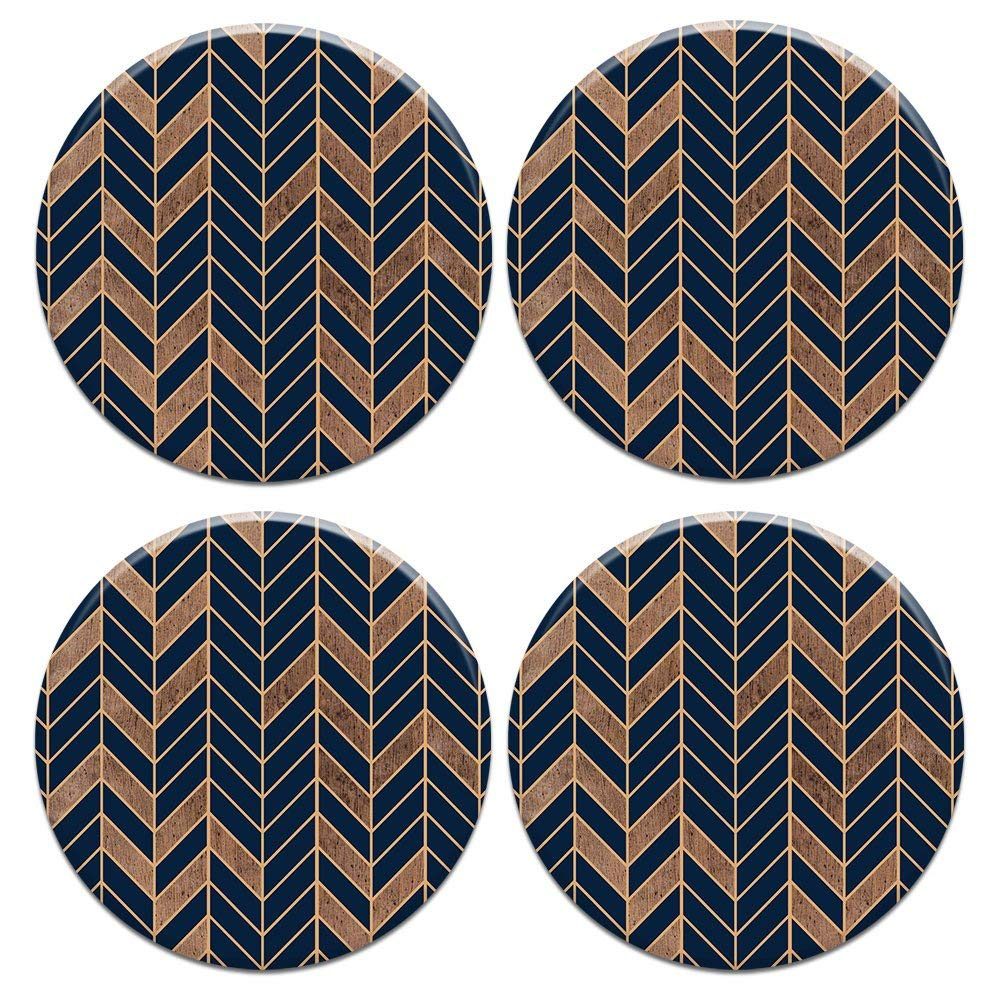 CARIBOU ROUND Ceramic Stone Coasters 4pcs Set, Mug Coffee Cup Place Mat Home Coasters for Hot & Cold Drinks, Navy Wood Chevron