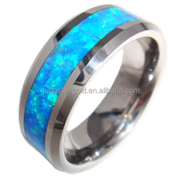 Tungsten Carbide Ring Blue Fire Opal Tungsten Wedding