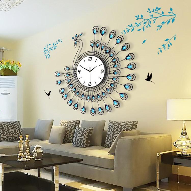 Nizza a forma di pavone metallo di grandi dimensioni blu - Orologi da parete moderni grandi ...