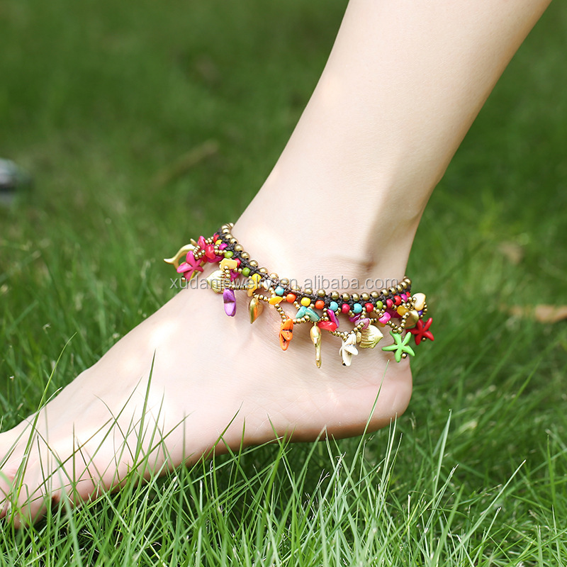 2017 New Selling Beach Anklet Jewelry Bohemian Multicolor Starfish Bell Braided Women Vintage Ankle Bracelet