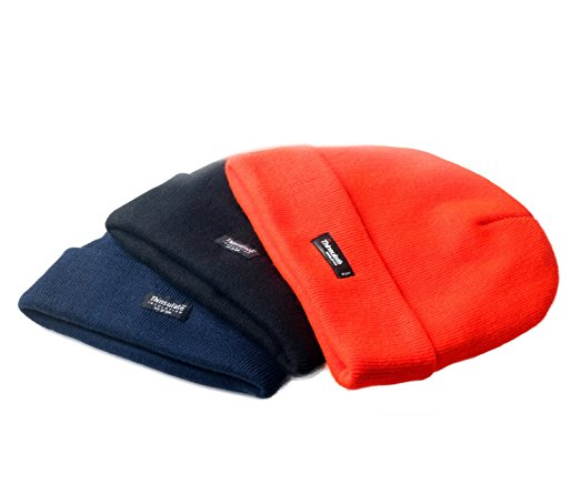 Hi Vis fluorescent Acrylic stretch knitted cold resistant work beanie hat watch cap Winter work or cold store