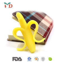 BPA Free Food Grade silicone baby teether, sensory toys infant silicone baby teether banana bendable training