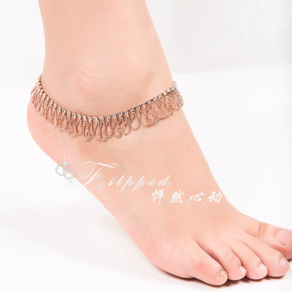 Get Quotations · 2015 New Sexy Foot Jewelry Anklet For Woman Rose Gold Ankle  Bracelet Wave Layeredanklets Belly Dance