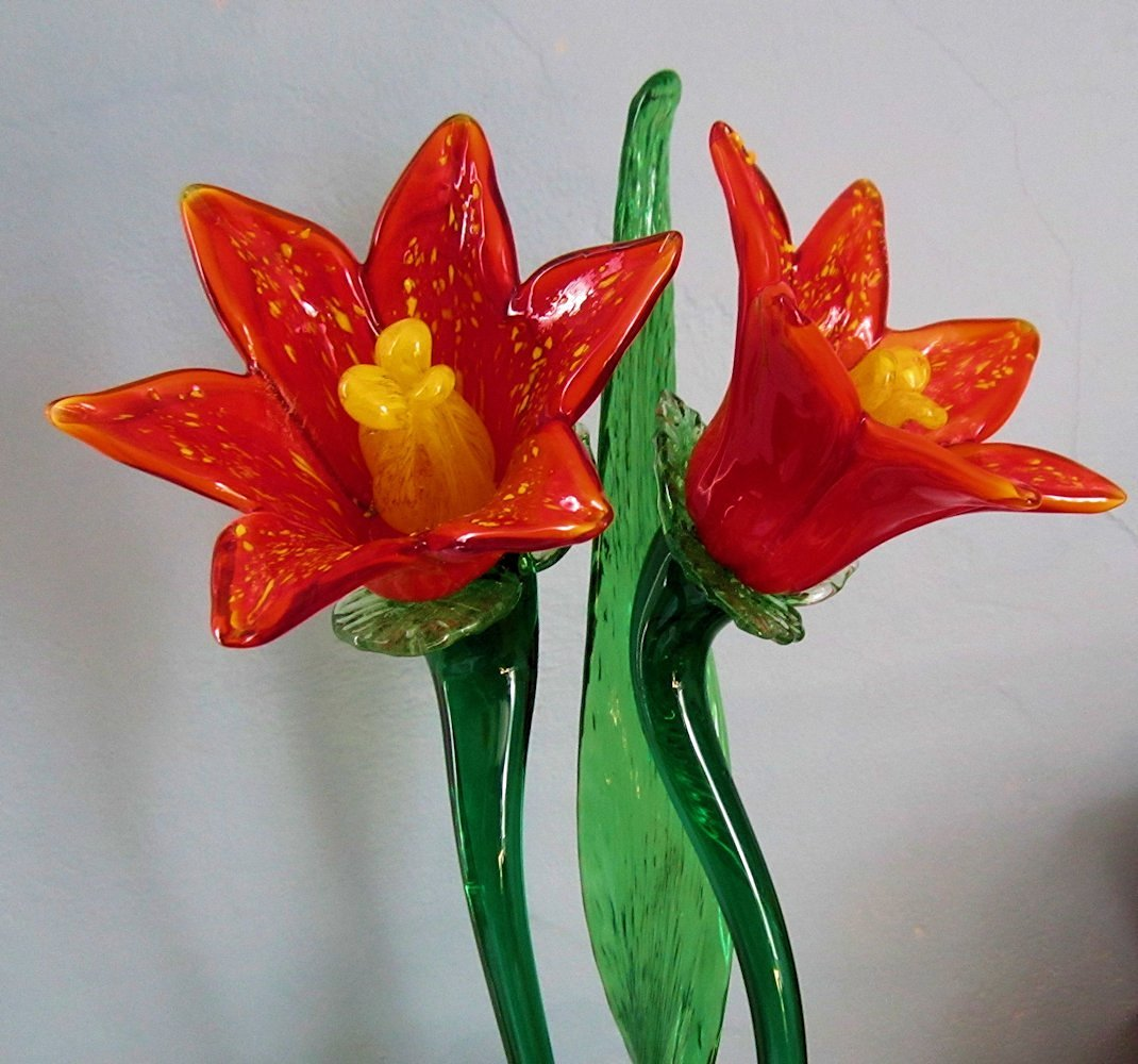 Buy Glass Flowers Bouquet with Glass Leaf 19 Inch in Cheap Price on ...