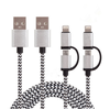 2016 Shenzhen Factory charging cable for iphone charger cable 2 in 1 Braided Sync for iphone usb cable